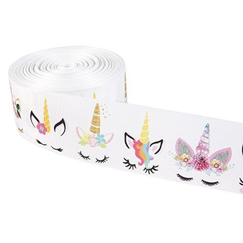 Rainbow Unicorn Printed Grosgrain Ribbon 3 Wide 5 Yard DIY Hair Bow Festival Wedding Party Birthday Bridal Decoration (White)