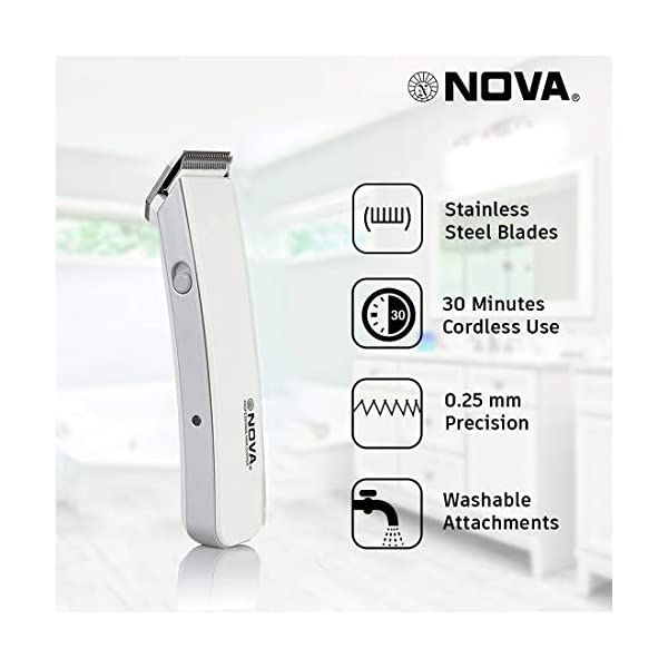 Nova NHT 1046 Rechargeable Cordless: 30 Minutes Runtime Beard Trimmer for Men (White) 2021 July Removable Rechargeable Battery and the product can be charged only with Charging Cable, Washable attachments with charging cable High grade stainless steel blades rechargeable cordless trimmer, Upto 30 minutes of cordless use. insert the battery in the slot and charge it accordingly .This product is not suitable for direct plug and use
