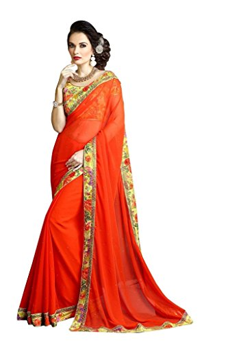 Aaradhya Fashion Womens Orange Georgette Embriodered Saree With Blouse