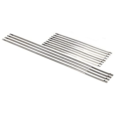 "Design Engineering 010216 Stainless Steel Positive Locking Ties for High Heat Applications, (8) 12mm x 9"" & (4) 7mm x 20"" (Pack of 12): Automotive"