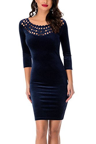 Bdcoco Women's Sexy Hollow-out Round Neck Bodycon Dress 3/4 Sleeve Club Velvet Mini Dress Navy Large