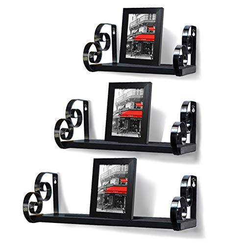(Giftgarden 3 PCS Picture Frames Included Floating Shelves Wall Mounted Decorative Wood Shelf for Home Decoration, Set of 3)