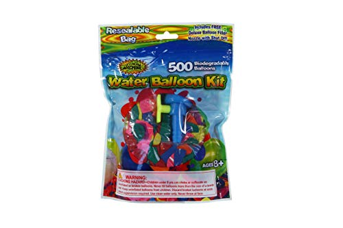 Water Sports Water Balloons Refill Kit 500 ct- Biodegradable Water Balloons with Water Balloon Hose Adapter for Quick Fill, Assorted, One Size