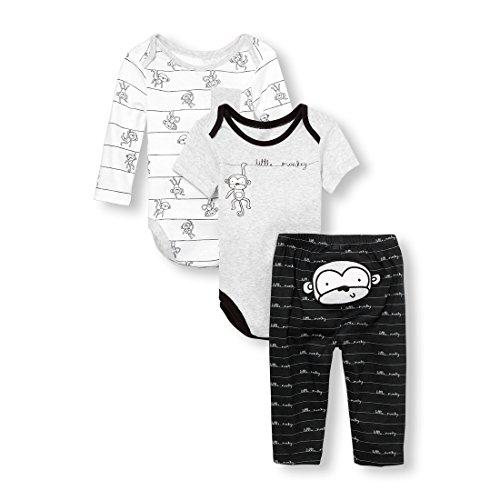The Children's Place Baby Boys Little Monkey' Bodysuits and Pants 3-Piece Playwear Set Bundle, Heather/T Lunar Monkey, 6-9MONTHS