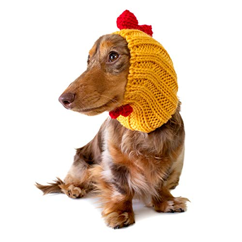 Zoo Snoods Rooster Chicken Dog Costume - Neck and Ear Warmer Headband (Small)