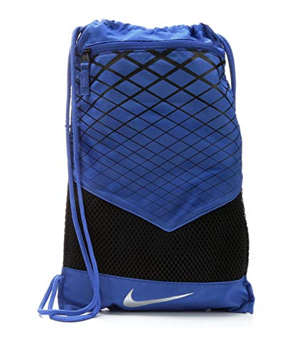 13 Corded String In (NIKE Vapor Energy Team Training Drawstring Gymsack Backpack 600 Denier Sport Bookbag (University Royal Blue/Black with Reflective Silver Signature Swoosh))