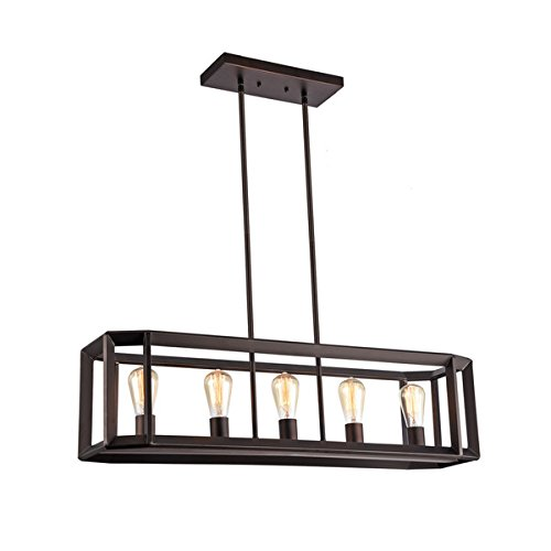 Chloe Industrial 5-light Oil Rubbed Bronze Pendant by Chloe