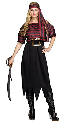 Fun World Adult Womens Classic Pirate Halloween Costume,One Size Fits up to Size 14,Red/White Stripe/Black