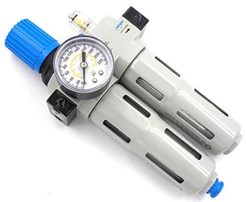 "NANPU FRC-1/4 Compressed Air Filter Regulator Lubricator Combo 1/4"" NPT Water/Oil Trap Separator - Gauge(0-230 psi), Poly Bowl,Manual Drain, Bracket - 3 in 1 Two Unit"
