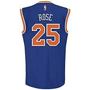 NBA Men's New York Knicks Derrick Rose Replica Player Road Jersey, Medium, Blue