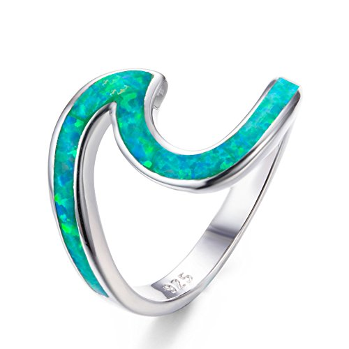 Bamos 925 Sterling Silver Wave Ring Ocean Beach Lab Created Green Opal. Silver Ring sizes 7 (Ring Birthstone Swirl Family Sterling Silver)
