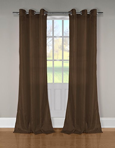 Silk Textured Wallpaper (Crushed Teaffeta Textured Grommet Top Window Curtain Pair Panel Insulated Drapes For Bedroom, Livingroom, Kids, Children, Nursery - Assorted Colors - 38 by 84 Inches, 2 Pieces - Brown)