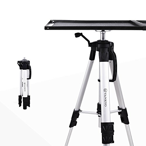 VANKYO Aluminum Tripod Projector Stand, Adjustable Laptop Stand, Multi-Function Stand, Computer Stand Adjustable Height 17'' to 46'' for Laptop with Plate and Carrying Bag (1-Silver) ()