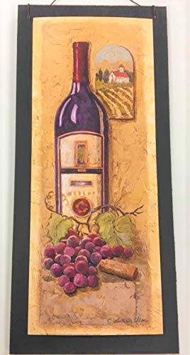Special Times Merlot and Grapes Tuscan Wine Wooden Kitchen Wall Art Sign *