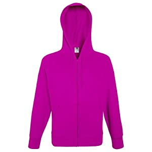 Fruit Of The Loom Mens Lightweight Full Zip Jacket / Hoodie (L) (Fuchsia)