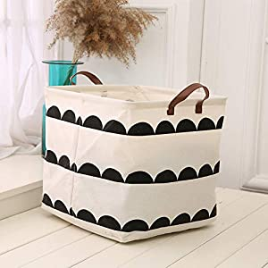 Axgo Cotton Folding Square Storage Basket Laundry Hamper Bag Toy Household Sundries Organizer Barrel, S, Semicircle Printed