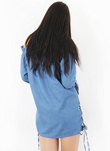 Fashion 1st - Vestido - trapecio - Manga Larga - para mujer Azul