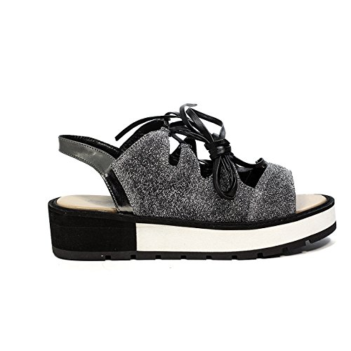 Apepazza DLS03 glittery sandals low with laces silver-colored new spring summer collection 2017 (35)
