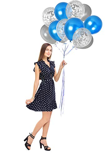 Metallic Silver and Royal Blue Balloons and Silver Confetti Clear Balloon 44 Pack Party Kit for Baby Shower Birthday Graduation Wedding Party Supplies from Treasures Gifted