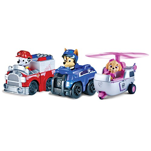 Paw Patrol Racers 3-Pack Vehicle Set, Rescue Marshall, Spy Chase, and Skye