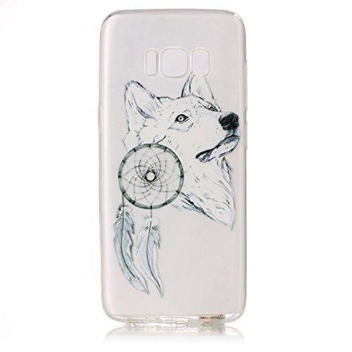 CaseHome Samsung Galaxy S8 gel de Silicona TPU Funda (Con Gratis Lápiz táctil) Guay ModaVistosoPatrónDiseñoCristalClaro Ultra FinoTransparenteEncaja PerfectoFlexibleSuaveCauchoParachoqueA  Lobo e Carillón de Viento