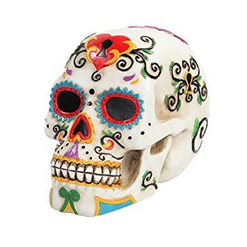 PTC 5.5 Inch Multicolor Patterned Day of The Dead Skull Statue Figurine -