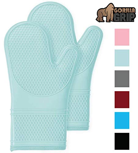 Gorilla Grip Premium Silicone Non Slip Oven Mitt Set, Flexible Oven Gloves, Professional Heat Resistant Kitchen Cooking Mitts, Protect Hands from Hot Surfaces, Cookie Sheets, Mint Green Pair, Set of 2