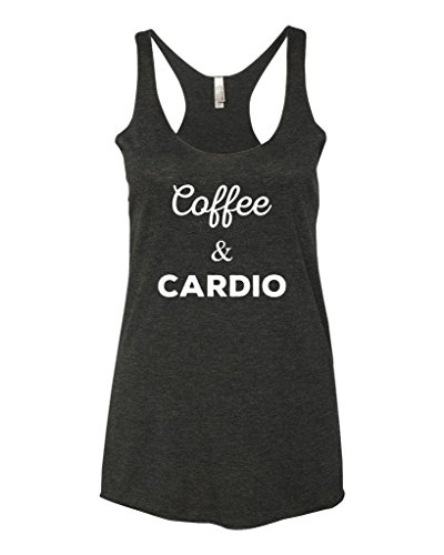 (Panoware Women's Funny Workout Tank Top | Coffee and Cardio, Vintage Black, Medium)