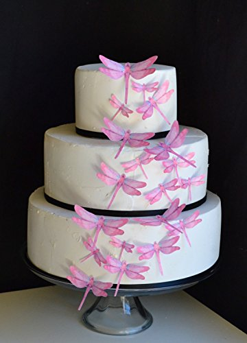 Edible Dragonflies © - Set of 30 Pink- Cake Decorations, Cupcake Topper