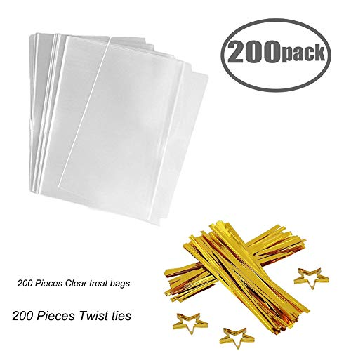 (Clear Treat Bags 200 PCS (6''by 8'') Cellophane Bag Party Favor Bags with 200PCS Gold Twist Ties for Wedding Gift Cookie Candy)