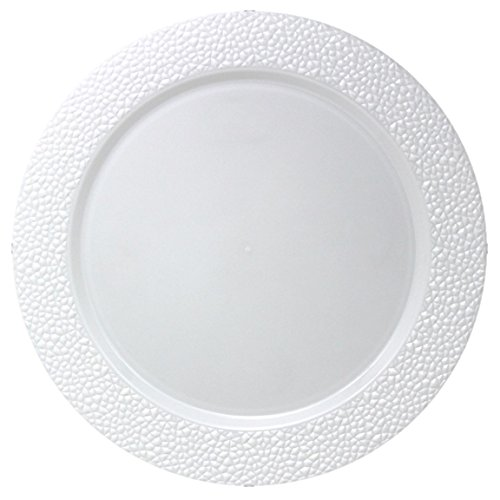 Hammered Plate - Posh Setting White Charger Plates, Hammered Design, Medium Weight 13 inch, Round Plastic Chargers 10 pack