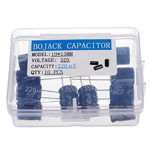 - BOJACK 10X13mm 220uF 50V 220MFD 50Voltage ±20% Aluminum Electrolytic Capacitors(Pack of 10 Pcs)