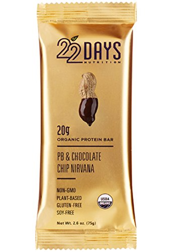 22 Days Nutrition Organic, Gluten Free, Vegan, Soy Free, Dairy Free, No Sugar Added, Real Food, High Fiber (10g), High Protein (20g),  Peanut Butter Chocolate Chip Plant Based Protein Bars, 6 Count