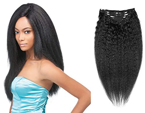 Clip in Kinky Straight Hair Extensions Yaki Straight Wave Hair Virgin Remy Human Hair Jet Black 10 Inch to 24 Inch 7 Pcs/Set (80g 12'', Jet Black) ()