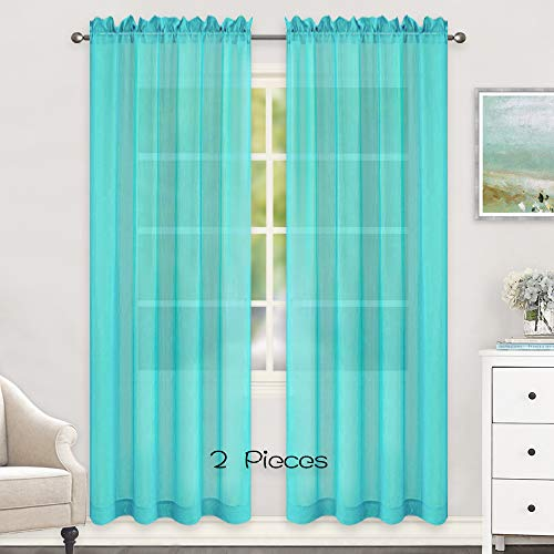 HUTO Sheer Curtains 52 by 84 Inches Long Rod Pocket Window Sheer Turquoise Curtains Drapes Home Decor Voile Panels Sheer for Bedroom Living Room Baby Room Nursery 2 Panels (Curtains Drapes Turquoise)