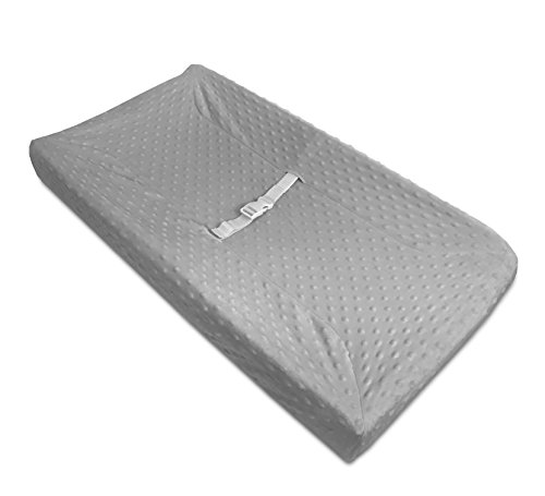 American-Baby-Company-Heavenly-Soft-Minky-Dot-Fitted-Contoured-Changing-Pad-Cover-Gray-Puff