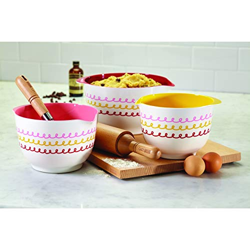 White 3pc Melamine Mixing Bowls Set Colorful Plastic Three Piece Whisking Beating Mixing Bowl Kitchen Chef Baking Cooking Prep Whisk Beat Mix, 1.8qt, 2qt, 3qt