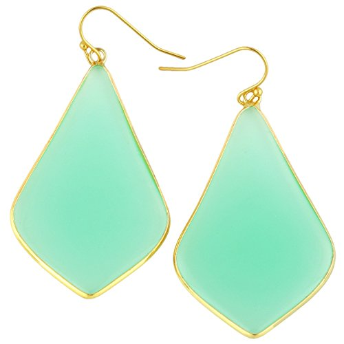 - rockcloud Crystal Stone Dangle Earrings Gold Plated, Rhombus Shape, Green Crystal Glass