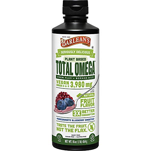 Barlean's Seriously Delicious Total Omega Vegan, Pomegranate Blueberry Smoothie, 16-oz
