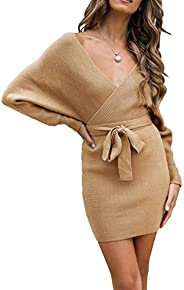 ZESICA Women's Long Batwing Sleeve Wrap V Neck Knitted Backless Bodycon Pullover Sweater Dress with