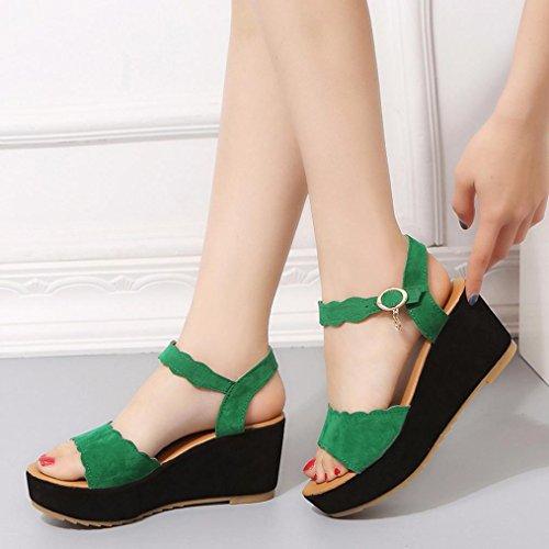 Tacón Zapatos Para Mujer de Plataforma Chancletas Sandalias Alto RETUROM Sandalias para Verde Mujer de Playa Verano xRUY7qz