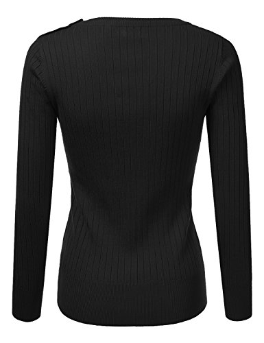 DRESSIS-Womens-Long-Sleeve-Round-Neck-Buttoned-Shoulder-Cable-Knit-Sweater