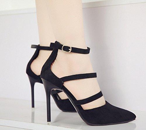 Couleur mode boucle unique été Baotou chaussures et les États LBDX Unis Noir Noir féminins Printemps mince talon haut et 38 l'Europe taille sandales ZqSzAnfUA