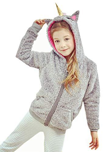 (Children Kids Unicorn Cosplay Carnival Unisex Stuffed Plush Zipper Winter Warm Hoodie Outfits Jackets (Gray Unicorn Jackets, 11-12 Years Old))
