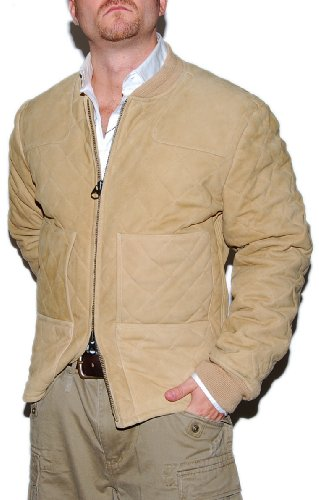 Polo Ralph Lauren Mens Vintage Hunting Quilted Suede Leather Jacket Khaki Large
