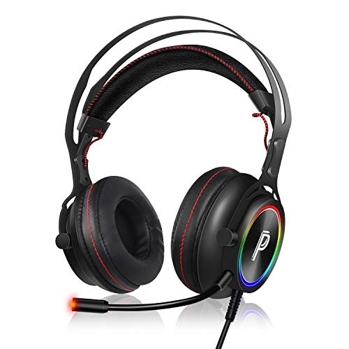 PROYEE Gaming Headset for PC Xbox One PS4 with 7.1 Surround Sound Stereo,Soft Breathing Earmuffs-Gameing Headphones with Noise Cancelling Mic, RGB Lights for Laptop, Mac, iPad, Nintendo (Black+Red)