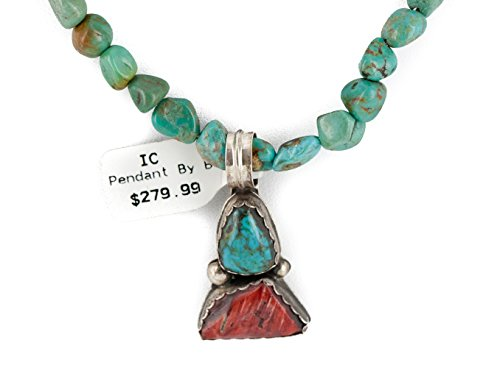 $470Tag Silver Certified Navajo Turquoise Spiny Lapis Native Necklace 14492-28-15781 Made by Loma Siiva