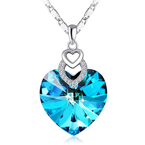 PLATO H Swarovski Element Necklace, Ocean Blue Crystal Heart Necklace, Heart Birthstone Necklace, Blue Crystal Birthstone Necklace, Swarovski Crystal Necklace, Woman Jewelry Gifts, Blue Necklace