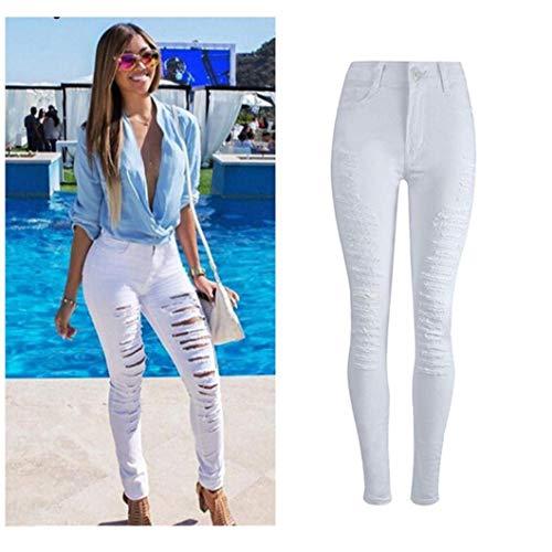 Las Pantalones Cintura Moda Mujeres Ropa Color Blanco Delgados Sólido Alta De Vaqueros Ripped Bolsillos Con Lápiz SrnrE