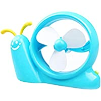 Rely2016 Portable Mini Snail Shaped Desktop Cooling Fan with Arbitrarily Curved Horns, USB and Battery Dual-use Cute Electric Desk Fan (Blue)